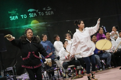 Tuktoyaktuk's Siglit Drummers and Dancers kicked off the community's seventh annual Land of the Pingos music festival with a drum dance ceremony on Aug. 9.