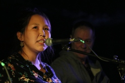 Tianna Gordon-Ruben provided the vocals, while her husband, Kolton (not pictured), strummed his guitar during the opening night of Tuktoyaktuk's seventh annual Land of the Pingos music festival on Aug. 9.