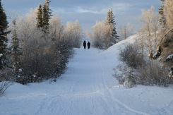 A couple goes for a morning stroll along the trails of Tin Can Hill in Yellowknife, N.W.T., January 2019.