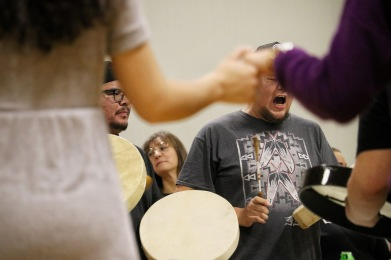 People held hands and formed a circle around Indigenous drummers during a Round Dance ceremony that was organized on campus by the University of Ottawa's Indigenous Resource Centre on Nov. 15, 2019.