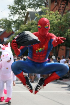 """A cosplayer named """"Priderman"""" poses for the camera during the 2018 Capital Pride Parade in Ottawa on August 26."""