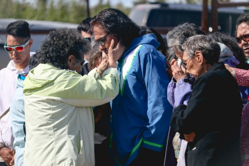 The lives of three boys who ran away from Inuvik's Stringer Hall residential school in 1972 were honoured at a ceremony in Inuvik, N.W.T. on June 6, 2019. Bernard Andreason, Dennis Dick and Lawrence Jack Elanik were no older than 13-years-old when they set out on foot to return home to the neighbouring community of Tuktoyaktuk, a journey that spanned two weeks. Andreason managed to make it home, but his two friends died along the way. During the ceremony, Elders and family members of the two boys prayed over Andreason, centre, who turned 58 later that year. Shot for the Inuvik Drum