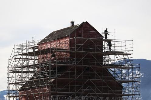 Construction of Creston's red grain elevator. Creston, B.C. March 2021