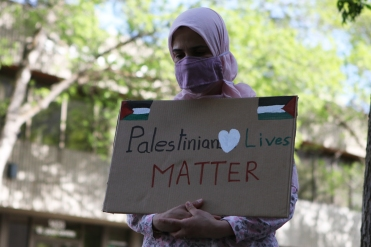 Soumia Bentefrit during a solidarity march and rally for Palestine. Kelowna, B.C. May 2021